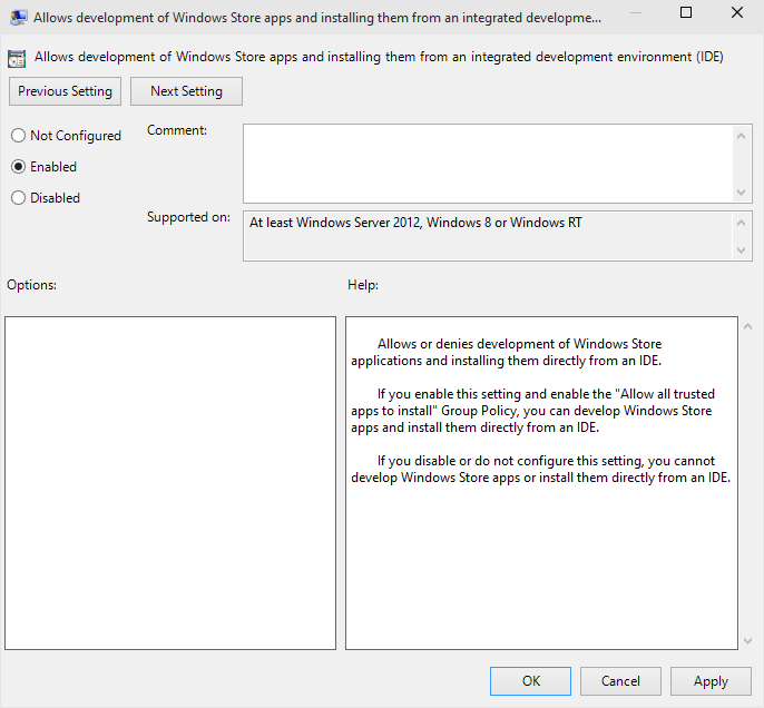 Changing Group Policy Setting